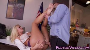 Babe, Boobs, Big tits, Cumshot, Blonde, Feet, Footjob