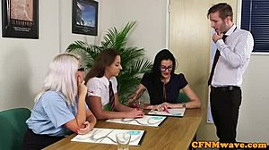Group, Cfnm, At work, Blowjob, Office, Femdom, Voyeur