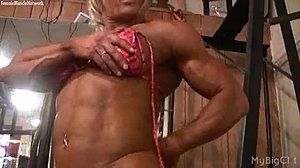 Big clit, Gym, Masturbation, Milf, Muscular, Bodybuilder, Clit