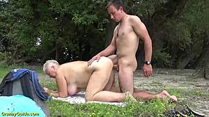 Rough, Mature, Outdoor, Extreme, Mommy, Bent over, Young
